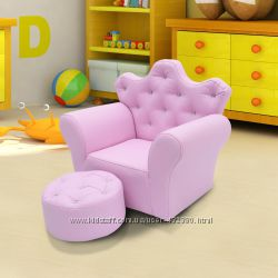 Детское розовое кресло-корона в наборе с пуфом