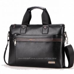 Кожаная мужская сумка Polo А4 чёрная