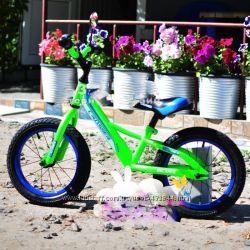 Беговел, велобег Crosser Balance 12, 14, 16 дюймов зелёный. Надувные колёса