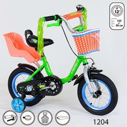 Детский велосипед Corso 12 дюймов двухколёсный для девочки с корзинкой