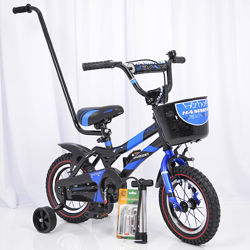 Велосипед 12 дюймов c родительской ручкой и корзинкой HAMMER S500 детский