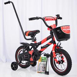 Детский велосипед 12 дюймов c родительской ручкой и корзинкой HAMMER S500