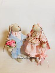 Пара заек тильда оригинальный декор подарок презент Свадьба игрушка детям