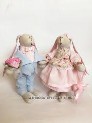 Пара заек тильда Нежность оригинальный подарок на свадьбу юбилей шефу