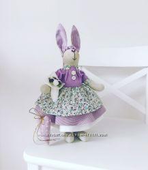 Интерьерная Зайка тильда Лавандовая принцесса оригинальный подарок сувенир