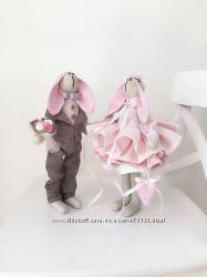 Пара заек тильда Конфетки, оригинальный подарок сувенир праздник игрушка