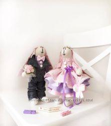 Пара заек тильда, семья оригинальный подарок кукла игрушка сувенир дочке