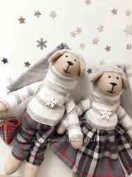 Пара собак тильда символ нового года оригинальный подарок Святого Николая