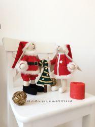 Новогодний набор интерьерных игрушек тильда Дед Мороз снегурочка ёлка детям