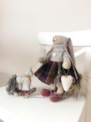 Новогодний подарок набор зайка лошадка тильда игрушка детям маме подруге
