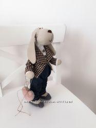 Собака тильда пёс символ года оригинальный подарок на Новый год игрушка сын