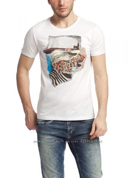 мужская футболка LC Waikiki белого цвета с цветным рисунком