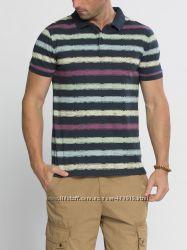 фирменное мужское поло LC Waikiki синего цвета в разноцветные полоски
