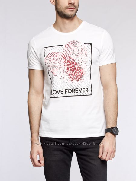 мужская футболка LC Waikiki ярко-белого цвета с Love forever