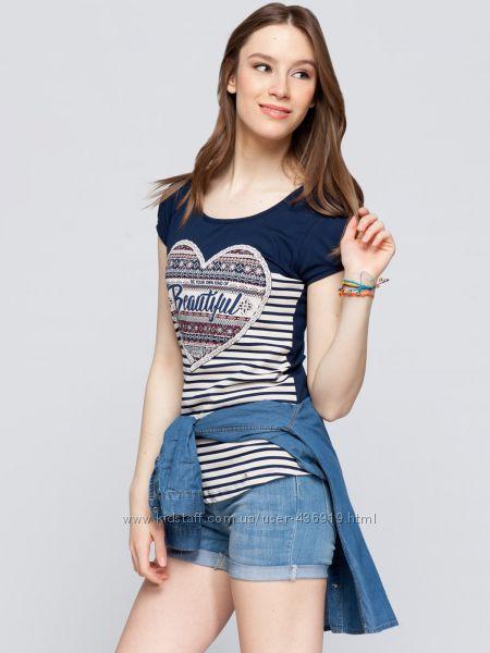 синяя женская футболка LC Waikiki с сердечком в белые полоски