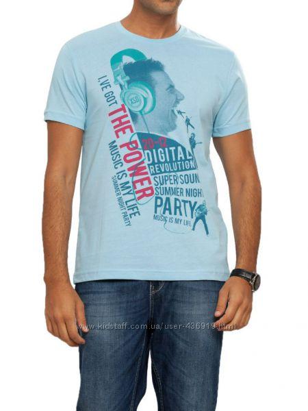 мужская футболка LC Waikiki голубого цвета с надписью The power