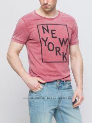 фирменная мужская футболка LC Waikiki кирпичного цвета с надписью New York
