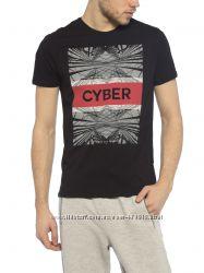 фирменная черная мужская футболка LC Waikiki с надписью Cyber