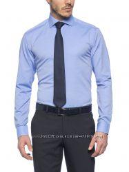 васильковая мужская рубашка LC Waikiki в мелкий горошек