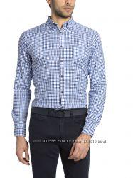 белая мужская рубашка LC Waikiki в синюю и черную мелкую клетку