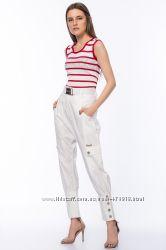 фирменные женские брюки 4G by GIZIA размер 42 L-XL с белым поясом