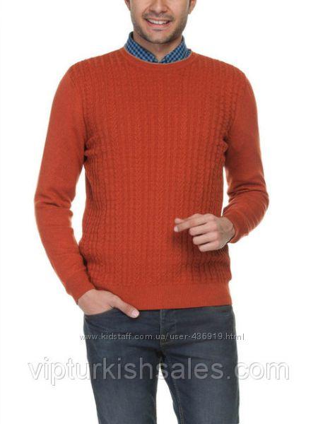 мужской свитер LC Waikiki кирпичного цвета в вязку косичка