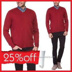 мужской свитер LC Waikiki красного цвета с V-образной горловиной