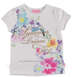 футболка для девочки белая LC Waikiki с надписью Summer Dream