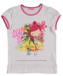 футболка для девочки белая LC Waikiki с надписью на груди Sun Set