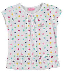 белая футболка для девочки LC Waikiki в звезды и сердце