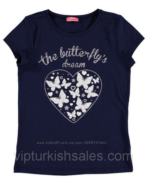 синяя футболка для девочки LC Waikiki с сердцем с бабочками на груди