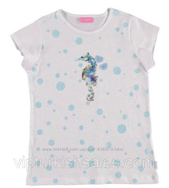 белая футболка для девочки LC Waikiki в голубые точки с морским коньком