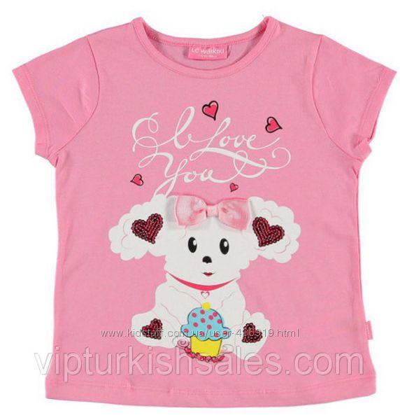 розовая футболка для девочки LC Waikiki с овечкой на груди