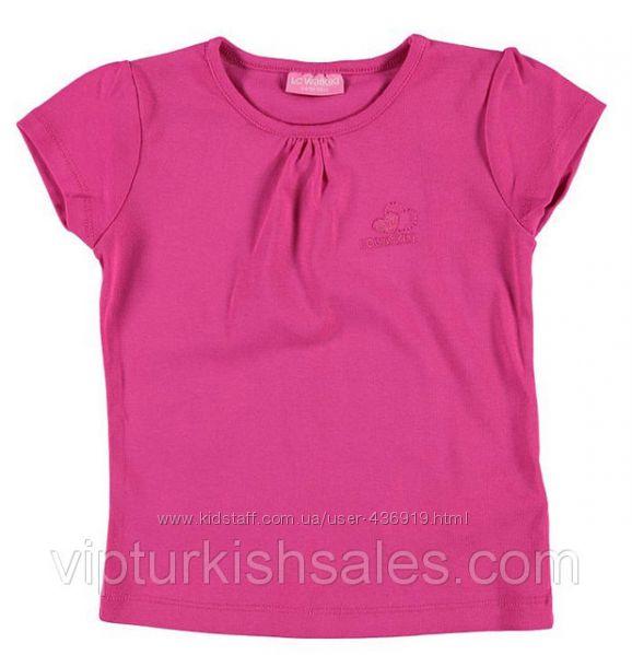 розовая футболка для девочки LC Waikiki с логотипом на груди