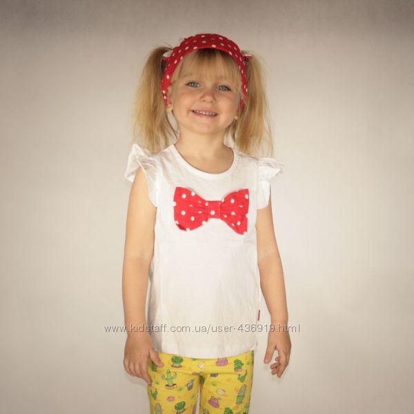 белая футболка для девочки LC Waikiki с красным бантиком в горошек