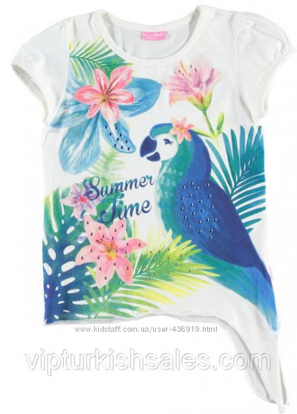 белая футболка для девочки LC Waikiki с надписью на груди Summer Time