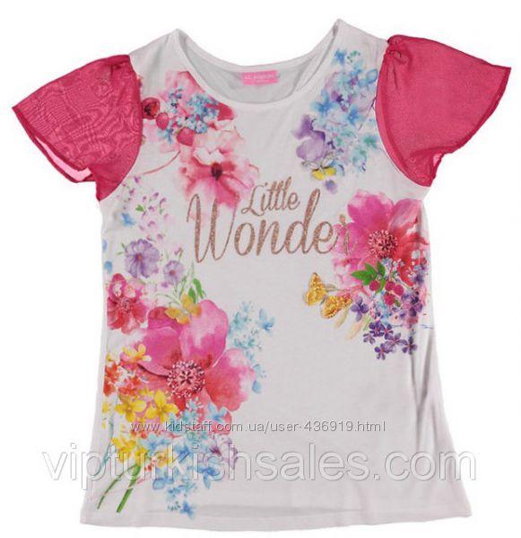 белая футболка для девочки LC Waikiki с розовыми рукавами и цветами