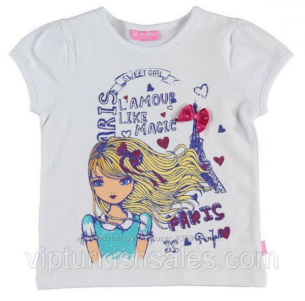белая футболка для девочки LC Waikiki с девочкой и картинкой на груди
