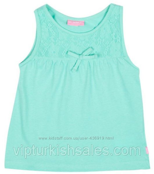 голубая футболка для девочки LC Waikiki с узором и бантиком
