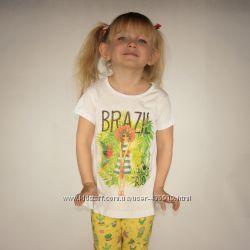 белая футболка для девочки LC Waikiki с надписью Brazil