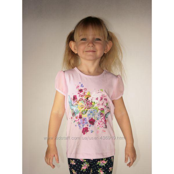 розовая футболка для девочки LC Waikiki с цветами и колибри