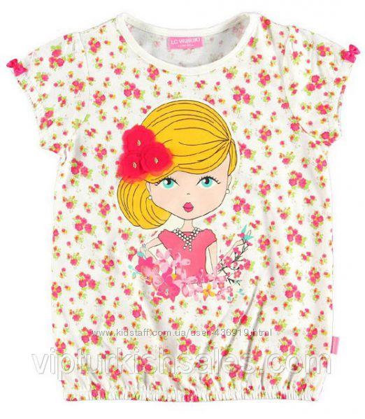 белая футболка для девочки LC Waikiki в цветочки и с девочкой на груди