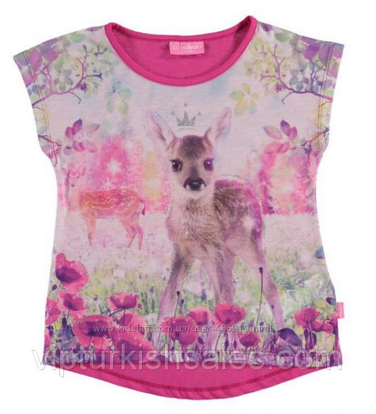 розовая футболка для девочки LC Waikiki с олененком