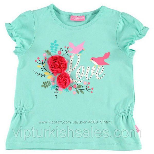 голубая футболка для девочки LC Waikiki с надписью Love