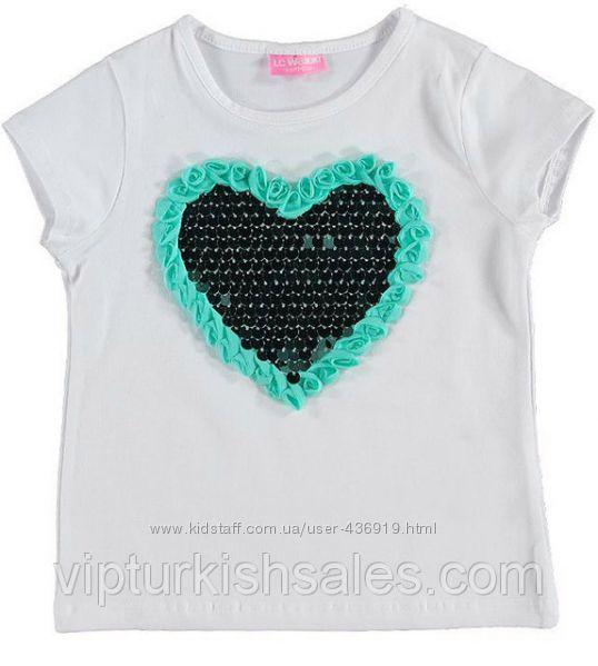 белая футболка для девочки LC Waikiki с голубым сердцем