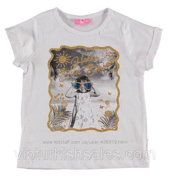 белая футболка для девочки LC Waikiki с картинкой на груди