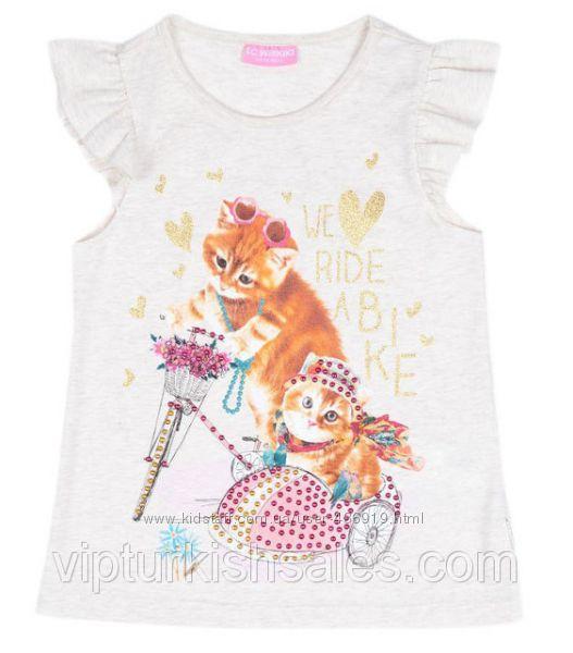 белая футболка для девочки LC Waikiki с котиками на мотоцикле