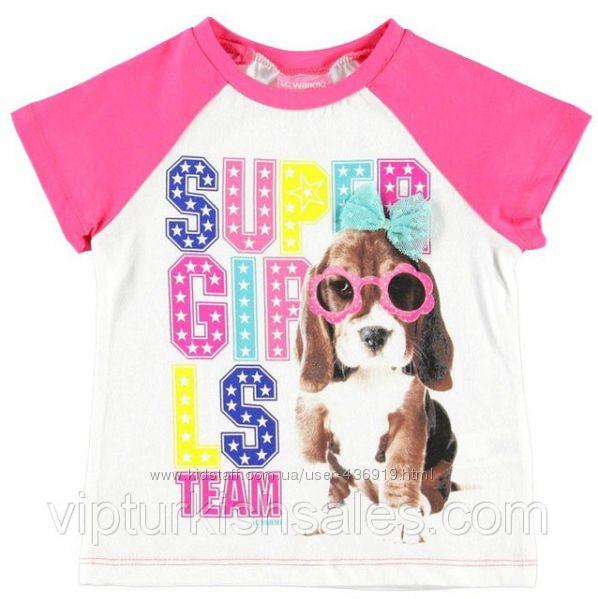 белая футболка для девочки LC Waikiki с розовыми рукавами с собачкой