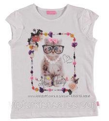 белая футболка для девочки LC Waikiki с котиком в очках на груди