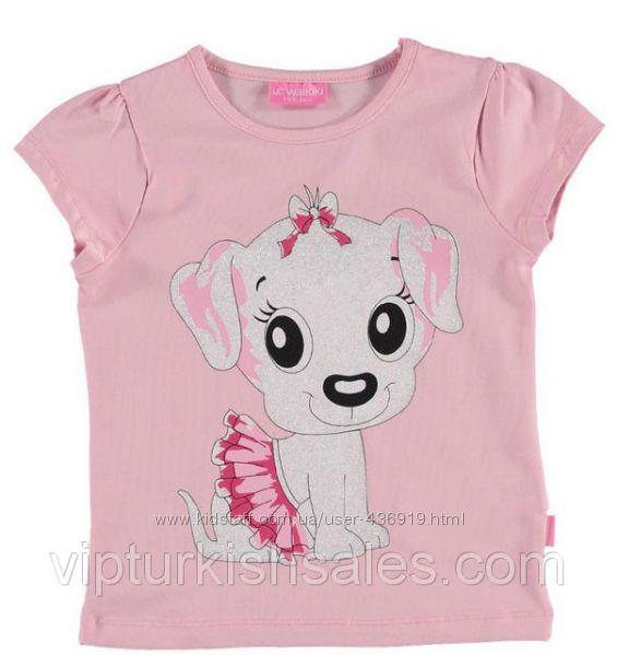 розовая футболка для девочки LC Waikiki с собачкой в юбке на груди